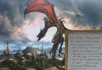 postcard with dragon and text